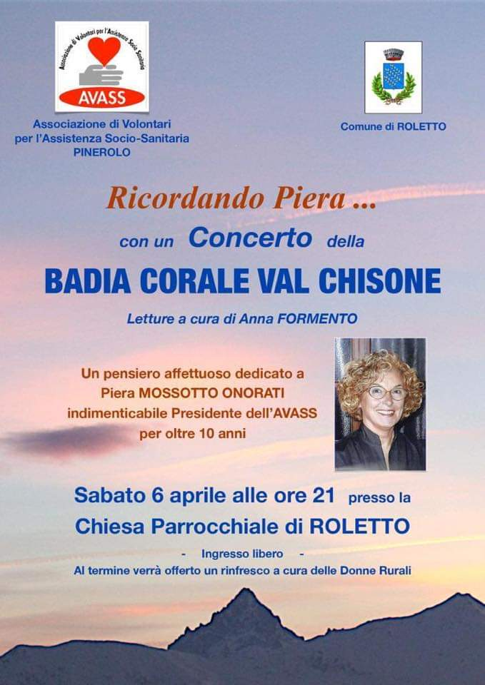 """""""Ricordando Piera"""" sabato 6 aprile 2019 Concerto Badia Corale Val Chisone"""